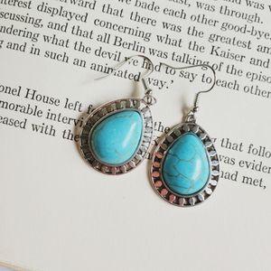 Western, boho, earrings, turquoise, silver